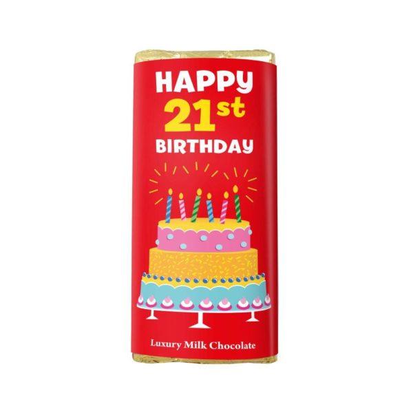 HAPPY 21ST BIRTHDAY LUXURY MILK CHOCOLATE