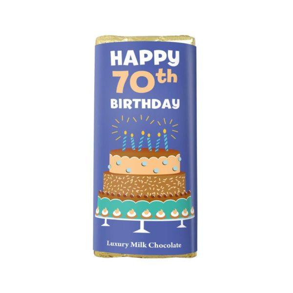 HAPPY 70TH BIRTHDAY LUXURY MILK CHOCOLATE