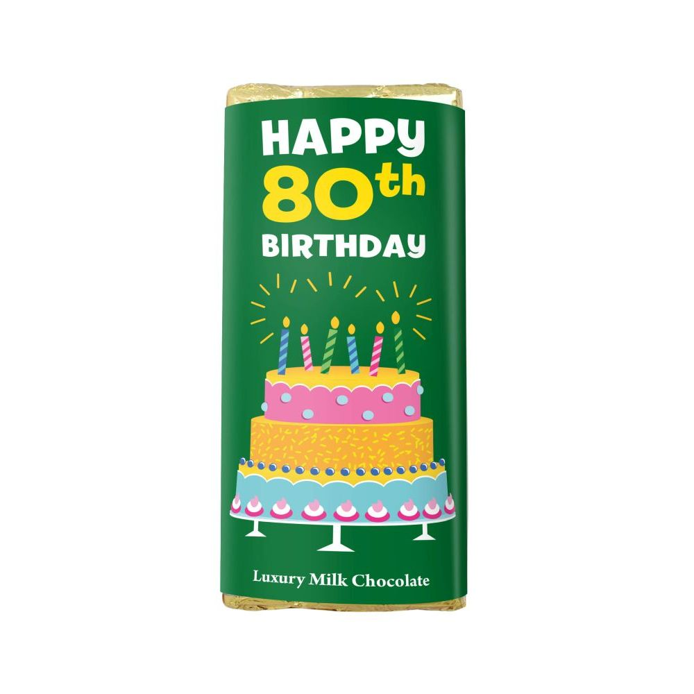 HAPPY 80TH BIRTHDAY LUXURY MILK CHOCOLATE